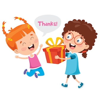 Thank you illustration with cartoon characters