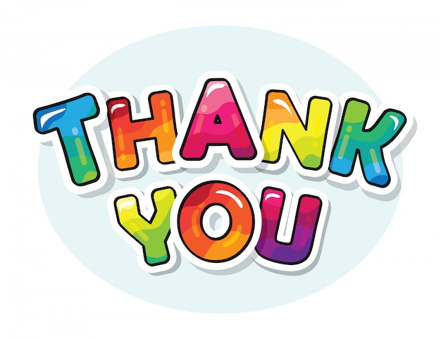 Thank you inscription. cartoon bold colorful letters.