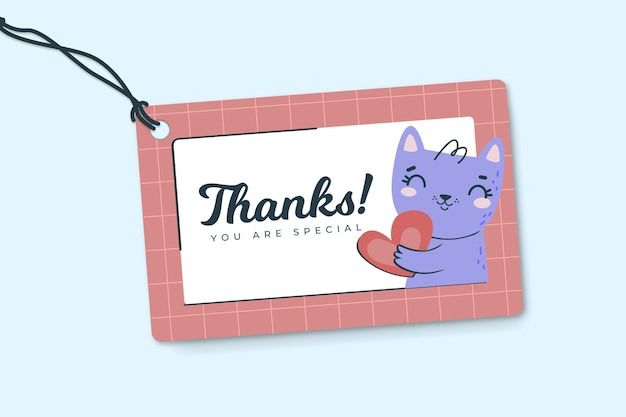 Thank you label template with cat