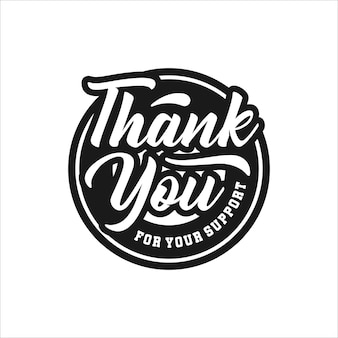 Thank you lettering on badge