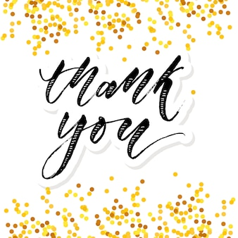 Thank you lettering calligraphy vector gold