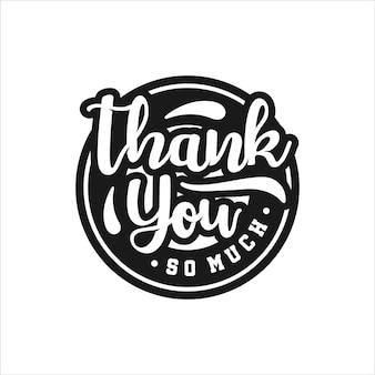 Thank you lettering logo illustration isolated