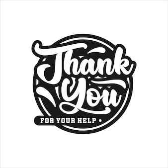Thank you lettering premium logo