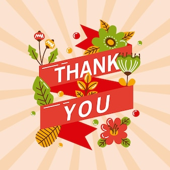 Thank you lettering in ribbon frame