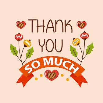 Thank you lettering in ribbon with foliage