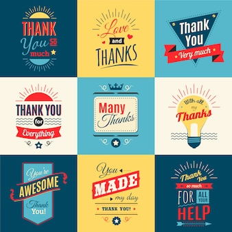 Thank you lettering set with love and gratitude in retro style isolated vector illustration