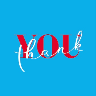 Thank you, lettering thank you on blue background.