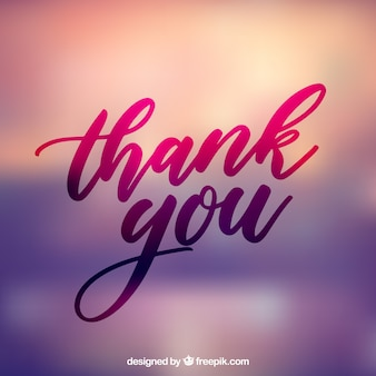 Thank you lettering with blurred background