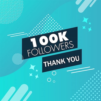 Thank you message for 100k followers on blue