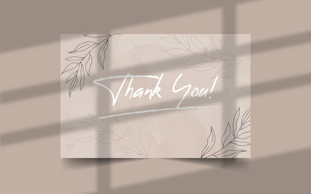 Thank you minimalist wedding card template