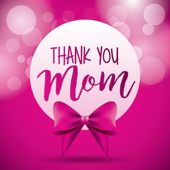 Thank you mom label bow pink circles blurred