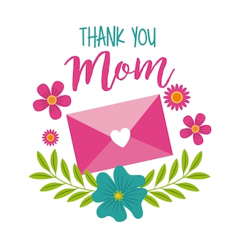 Thank you mom message envelope floral decoration