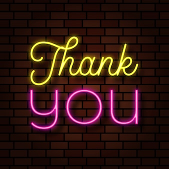 Thank you neon light text effect illustration