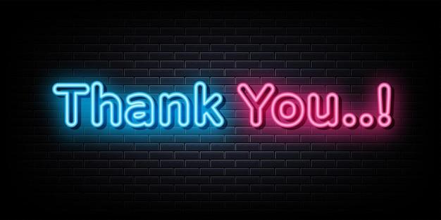 Thank you neon text neon  symbol