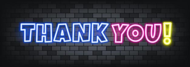 돌 배경에 네온 텍스트를 주셔서 감사합니다. 감사합니다. 비즈니스, 마케팅 및 광고용. 격리 된 배경에 벡터입니다. eps 10.