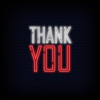 Thank you neon text sign. light banner poster.