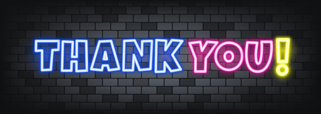 Thank you neon text on the stone background. thank you. for business, marketing and advertising. vector on isolated background. eps 10. Premium Vector