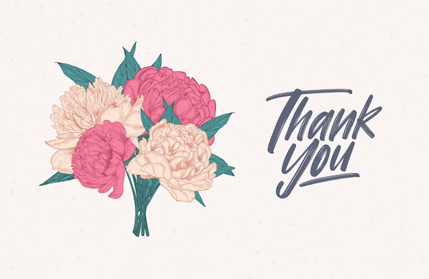 Thank you note greeting card decorated with bouquet of gorgeous blooming peonies.