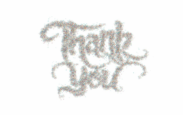 Thank you particle hand lettering typographical vector design.