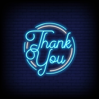 Thank you phrase in neon style. thank you neon signs