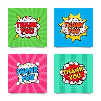 Thank you pop art style collection