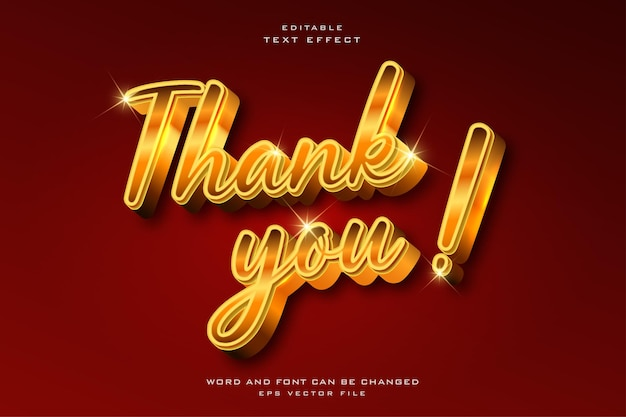 Thank you shiny golden style editable text effect