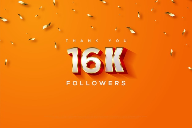 Спасибо шестнадцать тысяч фолловеров с оранжевым фоном и дождем из золотых лент.