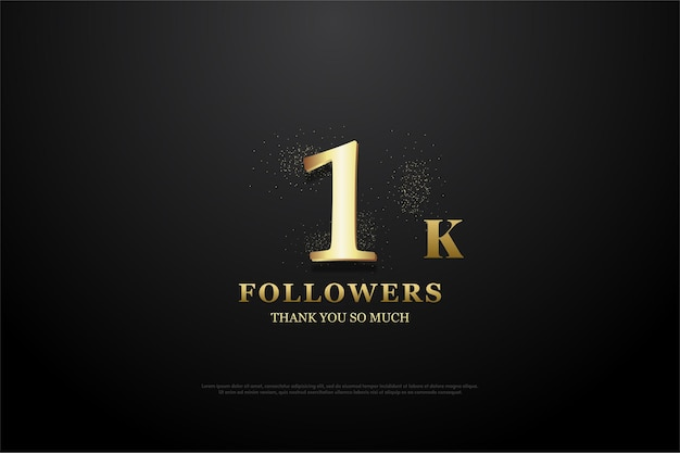 Thank you so much for 1k followers. with gold number and glitter.