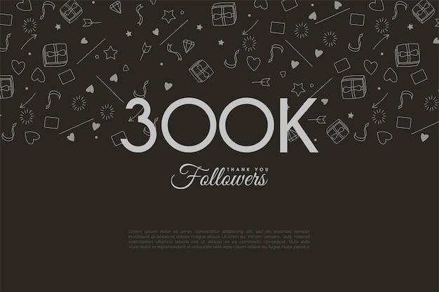 数字とイラスト入りの背景を持つ30万人のフォロワーに感謝します。