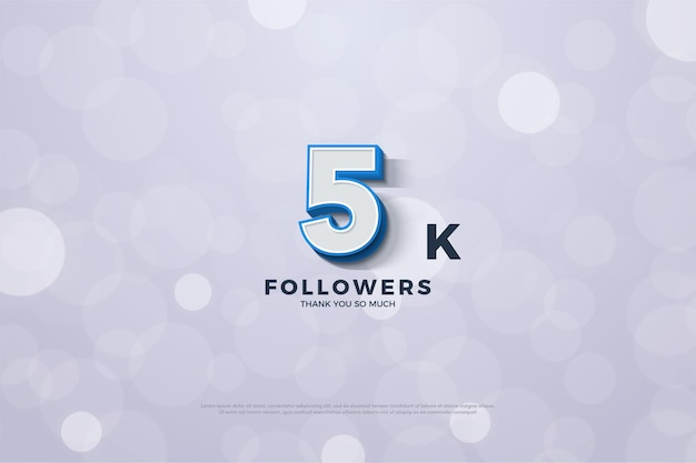 Thank you so much 5k followers with 3 dimensional figures and bold blue borders.