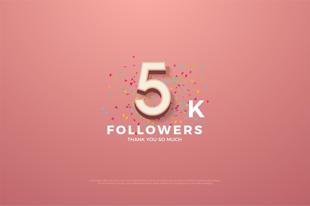 Thank you so much 5k followers with colorful number and freckles.
