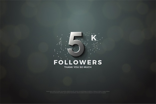 Thank you so much 5k followers with silver number and dots.