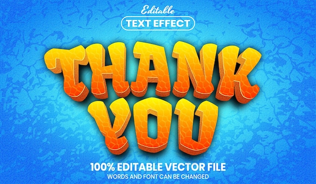 Thank you text, editable text effect
