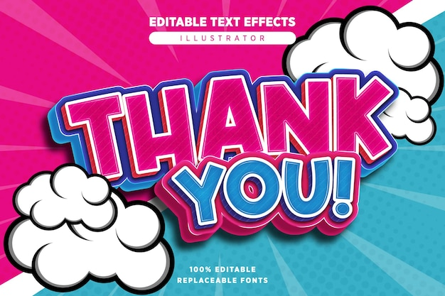 Thank you text effect editable in comic style