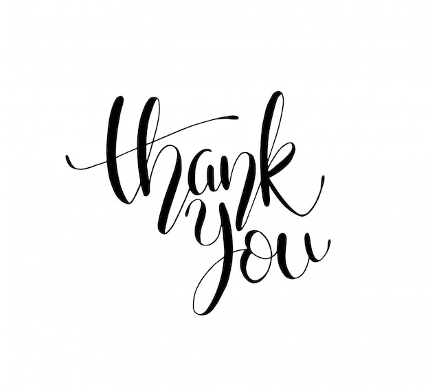 Thank you text, handwritten. calligraphy lettering illustration