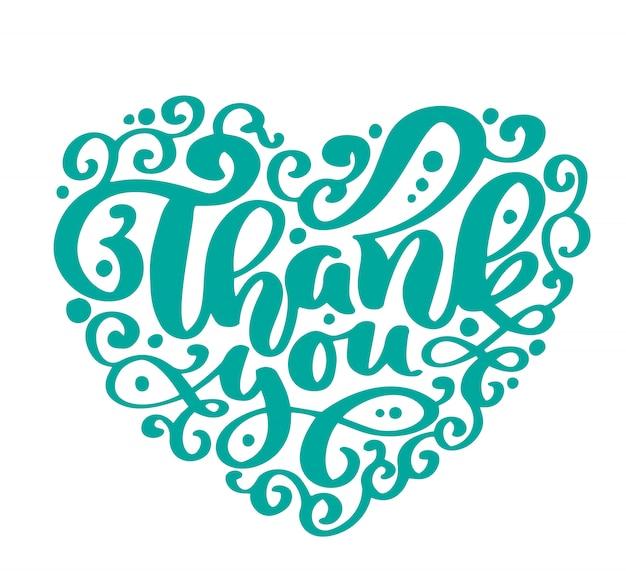 Thank you text heart handwritten inscription