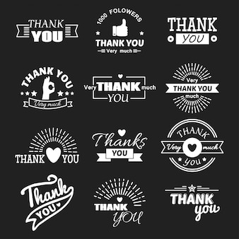 Thank you text lettering set