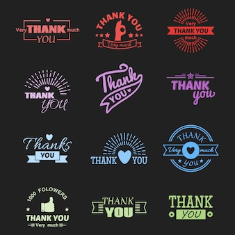 Thank you text lettering vector badge.