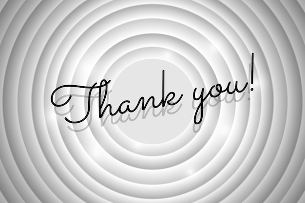 Thank you text on white circle retro cinema screen black title on old silent movie background
