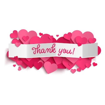 Thank you text on white paper banner and  pink hearts