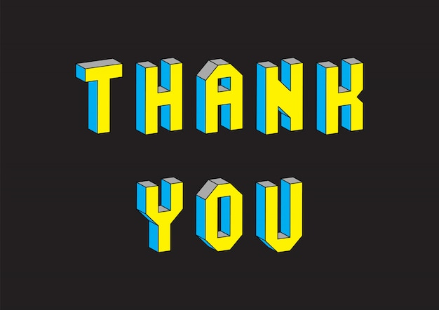 Thank you text with 3d isometric effect