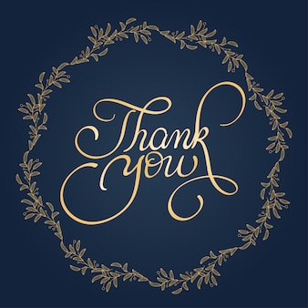 Thank you text with round frame on blue