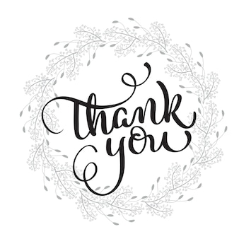 Thank you text with round frame