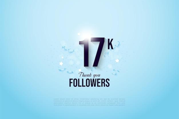 照らされた数字のイラストで17kのフォロワーに感謝します