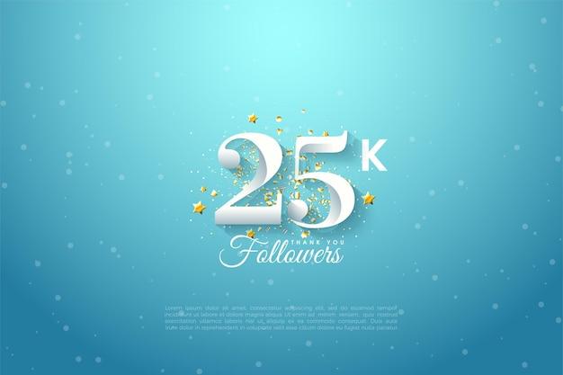 Спасибо 25 тысячам подписчиков, проиллюстрированных числами на чистом голубом небе.