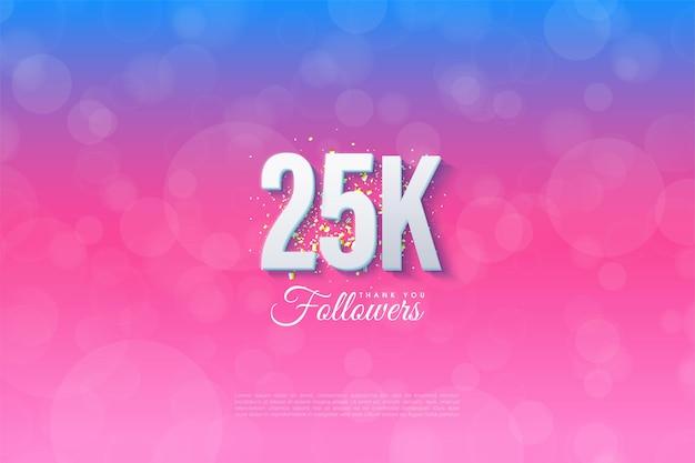 Спасибо 25 тысячам подписчиков на синем фоне, перешедшем в розовый.