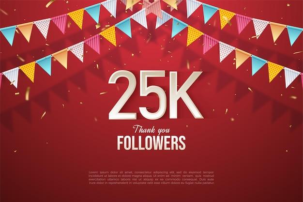 Спасибо 25 тысячам подписчиков с четырьмя рядами красочных флагов.