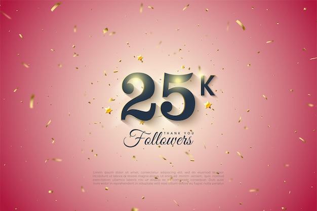 Спасибо 25 тысячам подписчиков с градиентным и золотым пятнистым фоном.