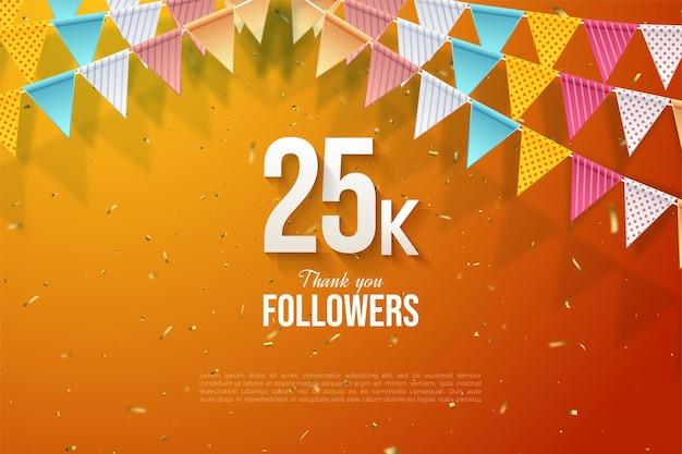 Спасибо 25 тысячам подписчиков с цифрами в центре и под флагом.