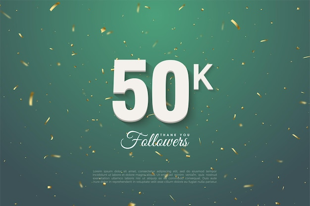 금색 반점 잎의 녹색 배경에 숫자를 가진 50k 추종자에게 감사드립니다.